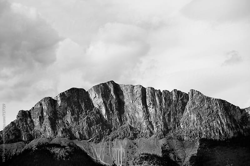 Black and white image of the Rocky mountains. by W2 Photography for Stocksy United