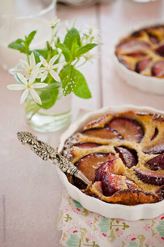 plums clafoutis by Laura Adani for Stocksy United