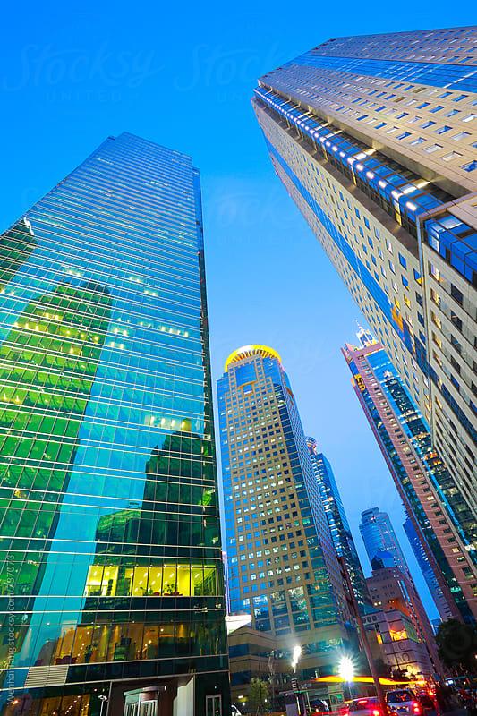 Looking at Shanghai Lujiazui modern city buildings Night by Wenhai Tang for Stocksy United