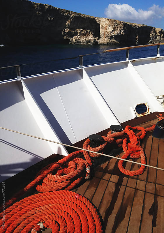 red rope on a yacht by MEM Studio for Stocksy United