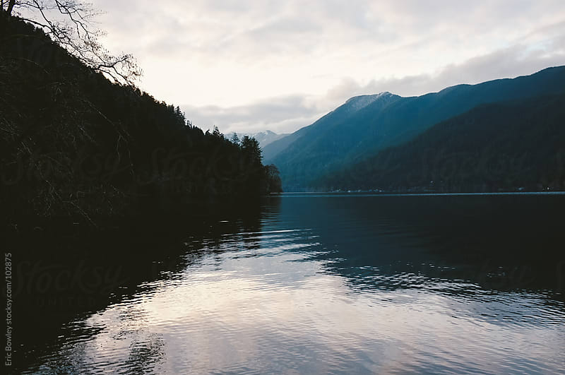 Dusk at Lake Crescent by Eric Bowley for Stocksy United