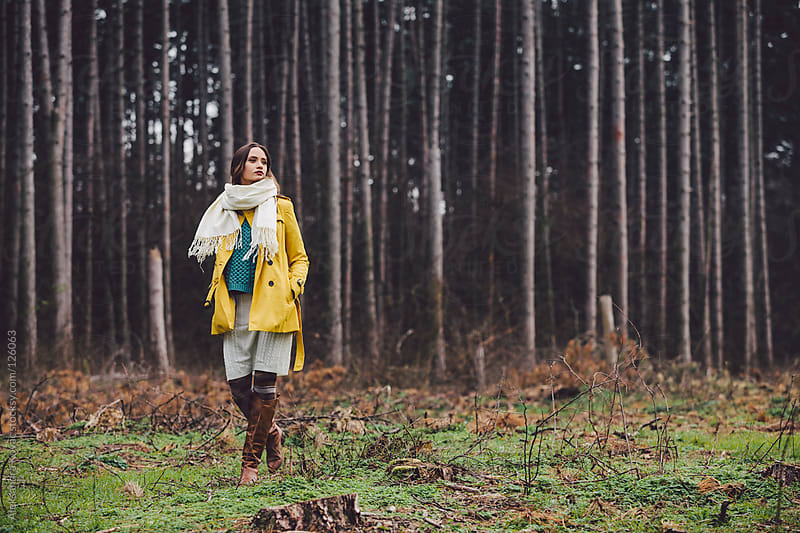 Woman walks in autumn nature by Aleksandra Kovac for Stocksy United