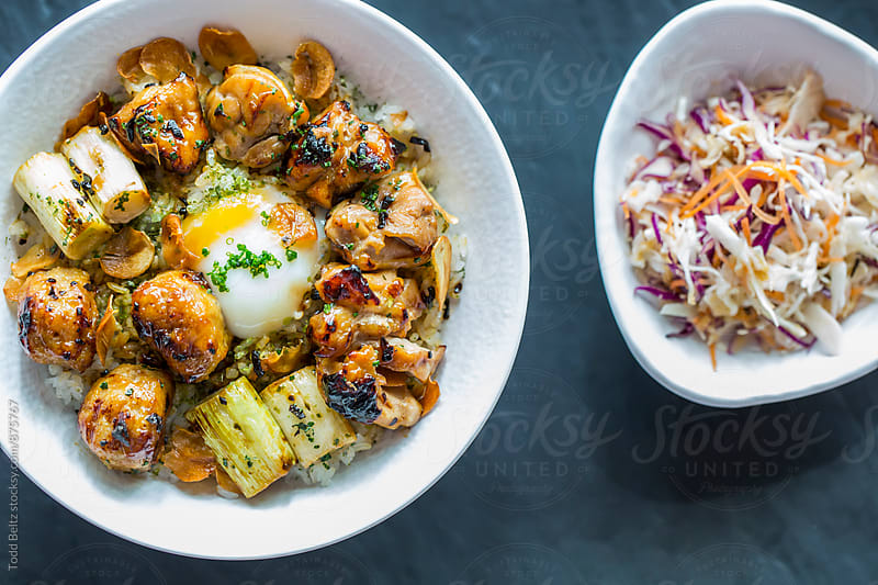 Classic Japanese rice with chicken bowl by Todd Beltz for Stocksy United