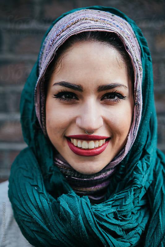 Beautiful persian woman wearing Muslim headscarf by kkgas for Stocksy United