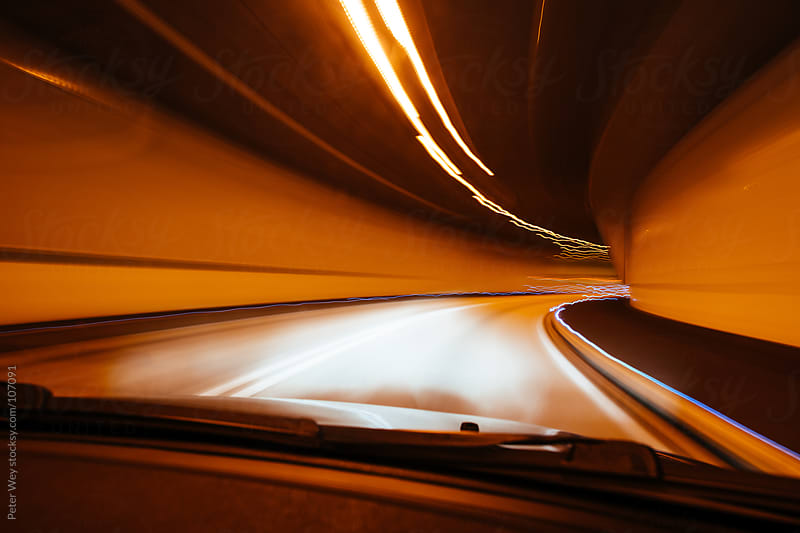 long exposure in tunnel by night by Peter Wey for Stocksy United