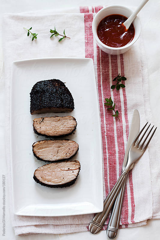 Pork fillet with coffee and muscovado sugar by Federica Di Marcello for Stocksy United