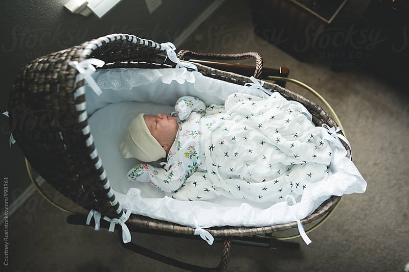 Fresh new baby in a moses basket by Courtney Rust for Stocksy United