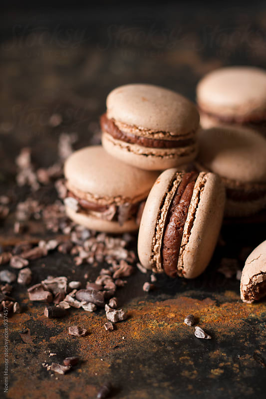 Chocolate macaron by Noemi Hauser for Stocksy United