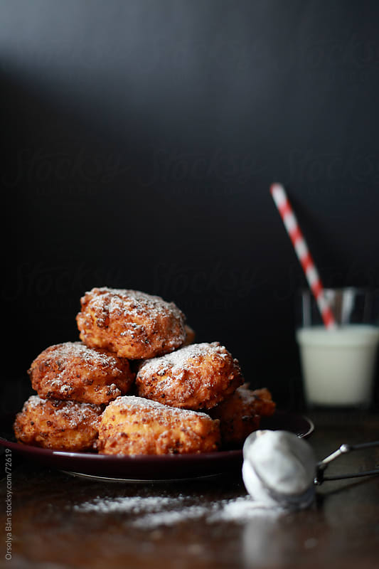 Cottage Cheese Fritters with a Glass of Milk by Orsolya Bán for Stocksy United