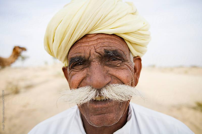 Portrait of Rajasthani man. India. by Hugh Sitton for Stocksy United