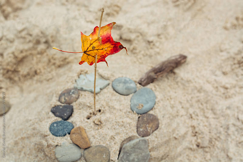 Fall leaf ornament on a sand castle by Gabriel (Gabi) Bucataru for Stocksy United