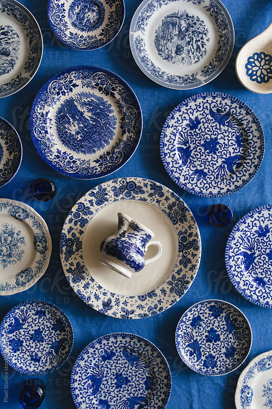 Various blue vintage dishes  by Pixel Stories for Stocksy United