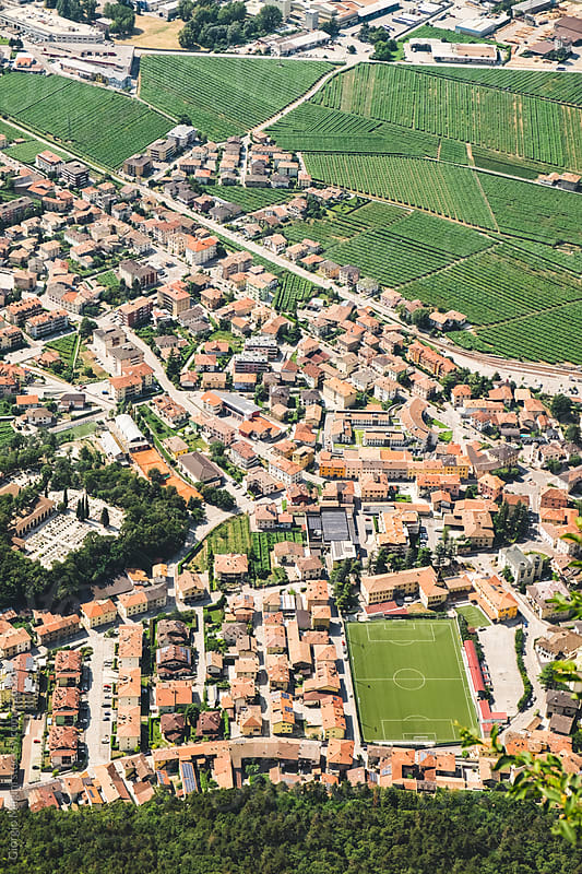Aerial View of a Small Town in Trentino, North Italy by Giorgio Magini for Stocksy United