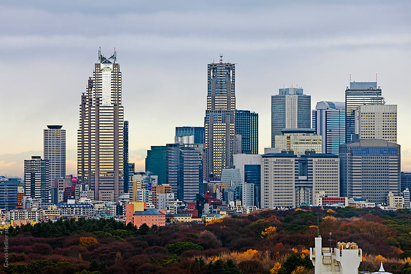 Asia, Japan, Tokyo, Shinjuku skyline viewed from Shibuya - elevated by Gavin Hellier for Stocksy United