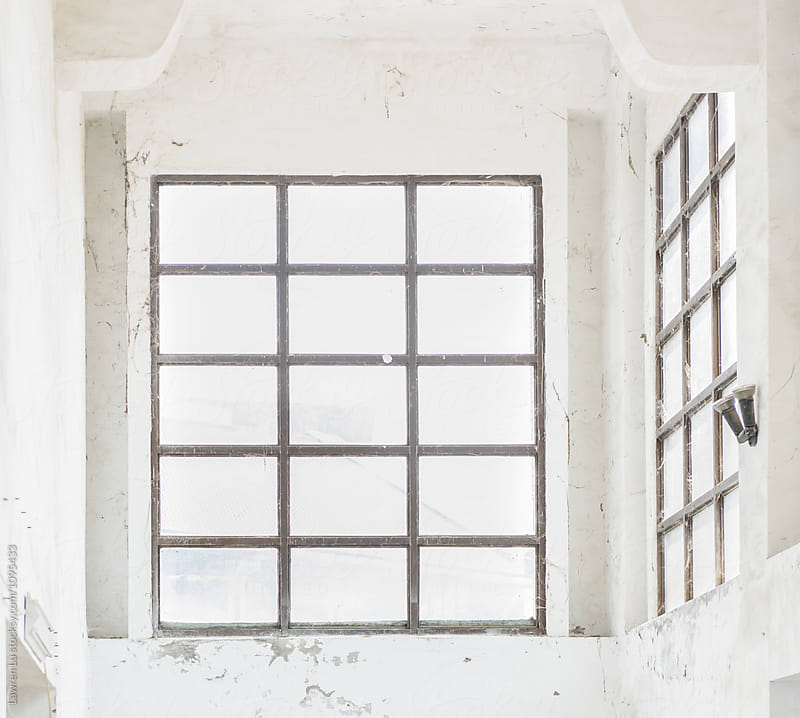 Old white wall with wooden window frame by Lawren Lu for Stocksy United