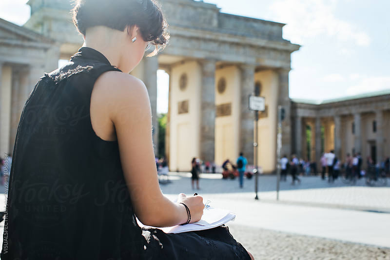 Berlin - Young Artist Drawing Outdoors Near Brandenburg Gate by Julien L. Balmer for Stocksy United