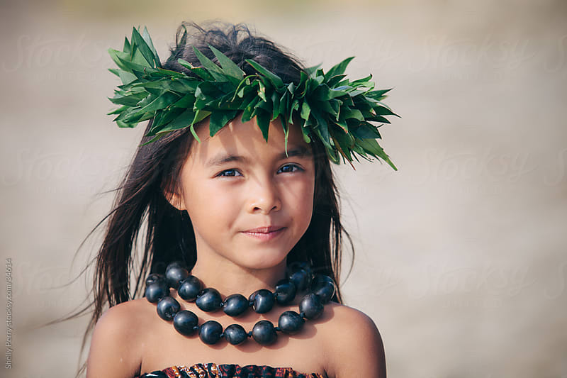 Portrait of a Young Traditional Hawaiian Hula Dancer Girl by Shelly Perry for Stocksy United