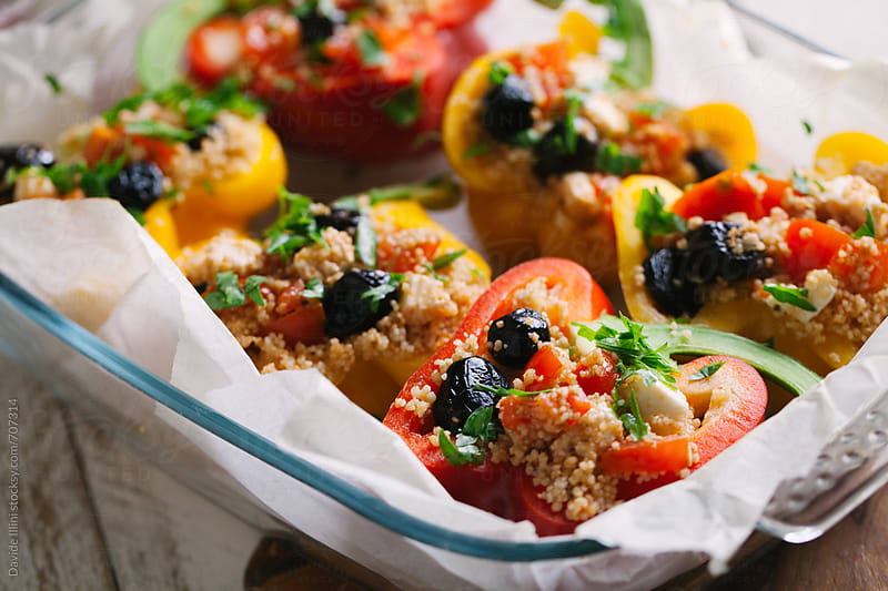 Peppers stuffed with couscous and mixed vegetables by Davide Illini for Stocksy United