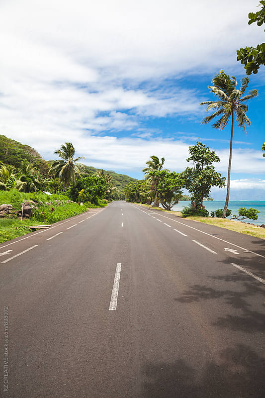 Empty road in French Polynesia. by RZ CREATIVE for Stocksy United
