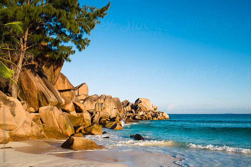 granitic rock formations on Anse Major beach in La Digue by michela ravasio for Stocksy United