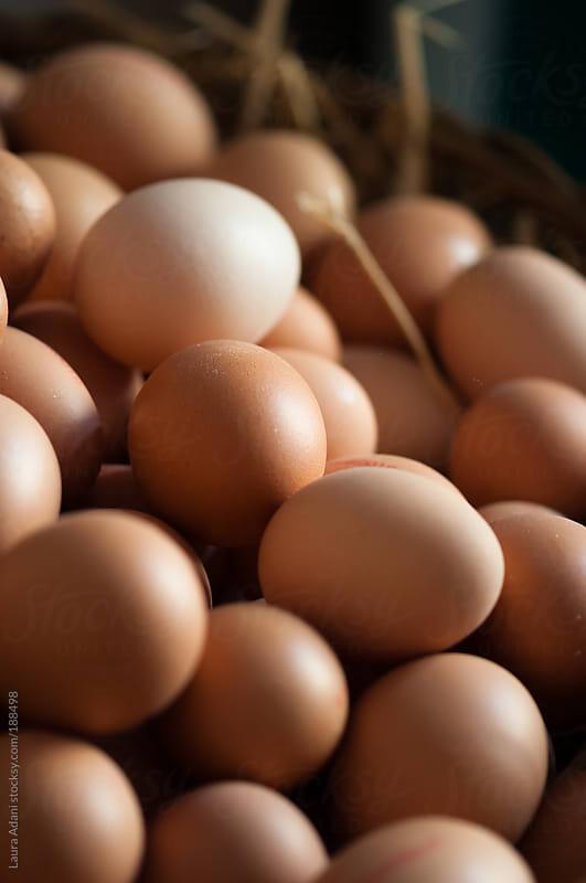fresh brown eggs by Laura Adani for Stocksy United