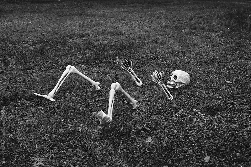 A halloween decoration shows off a skeleton rising (or sinking) from the ground by Kathryn Swayze for Stocksy United