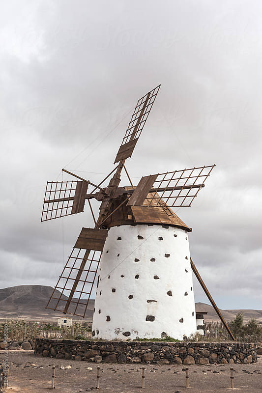 Typical Windmill in Fuerteventura Spain by HEX. for Stocksy United