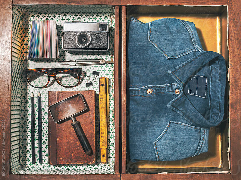 The objects of a vintage graphic designer man in a wood drawer. by BONNINSTUDIO for Stocksy United