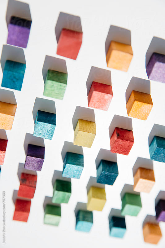 Colored cubes on the ceiling by Beatrix Boros for Stocksy United