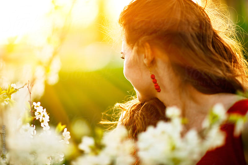 Young woman looking away in sunlight and apple blooming tree by Ilya for Stocksy United