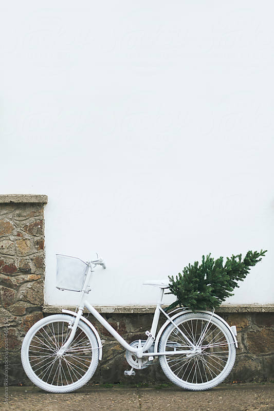 Christmas tree on a white bicycle by Jovana Rikalo for Stocksy United
