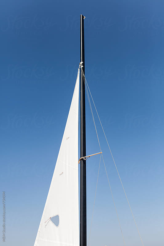 jib on a sports catamaran class F16 by MEM Studio for Stocksy United