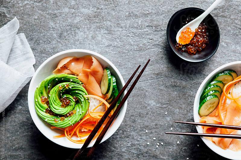 Sushi bowl by Ellie Baygulov for Stocksy United