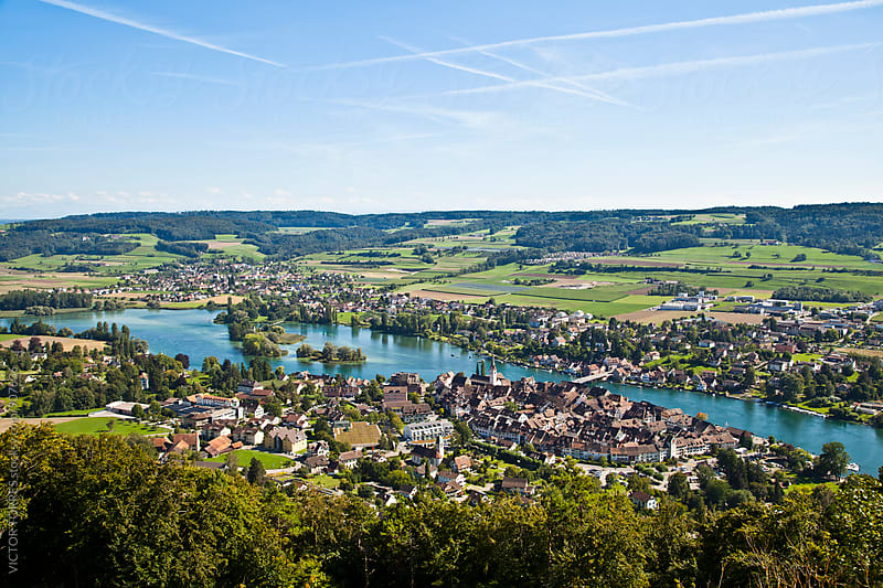 Aerial view of Stein Am Rheim village by Victor Torres for Stocksy United