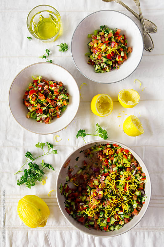 Israeli salad by Pixel Stories for Stocksy United