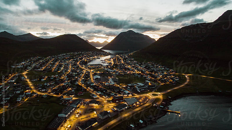An Aerial Shot of the Faroe Islands at Night by Daniel Inskeep for Stocksy United