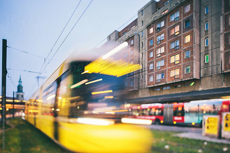 Yellow Tram in Berlin by Good Vibrations Images for Stocksy United