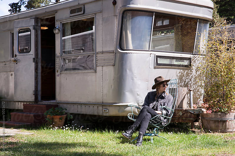 Female And A Vintage Trailer by Carey Haider for Stocksy United