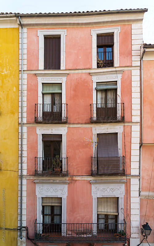 Colorful mediterranean facade crooked by ACALU Studio for Stocksy United