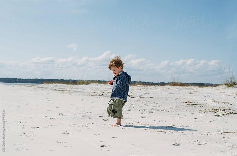 Little Boy on Beach by Ali Deck for Stocksy United