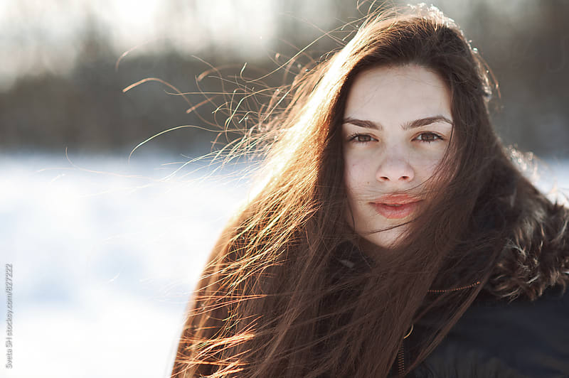 Winter portrait of young girl by Sveta SH for Stocksy United