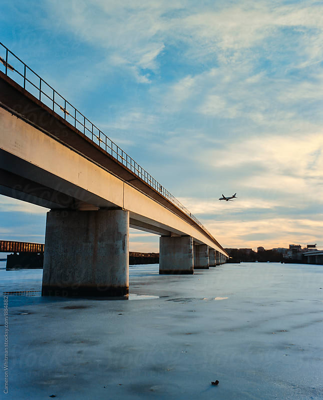 Metro Rail Bridge Over A Frozen Potomac River by Cameron Whitman for Stocksy United
