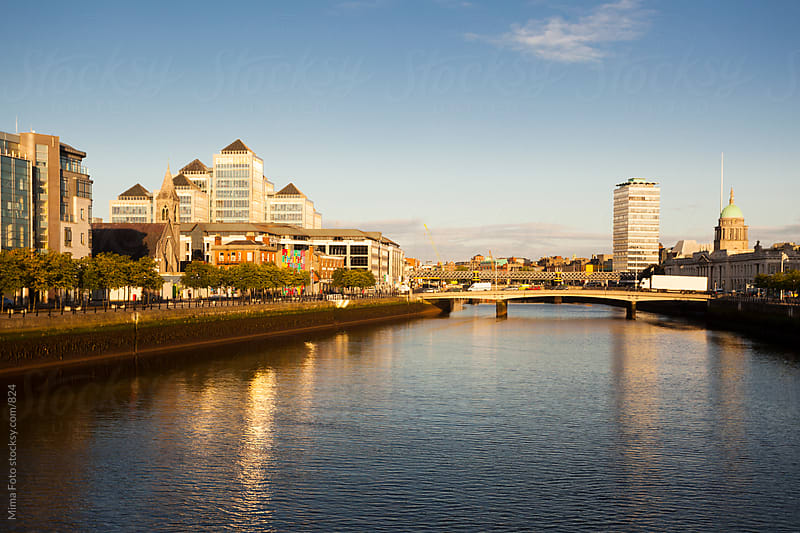Central Dublin and Liffey River by Michael Zwahlen for Stocksy United