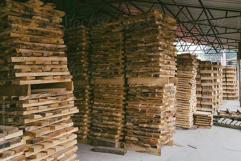 Wood stacked in warehouse by Maa Hoo for Stocksy United