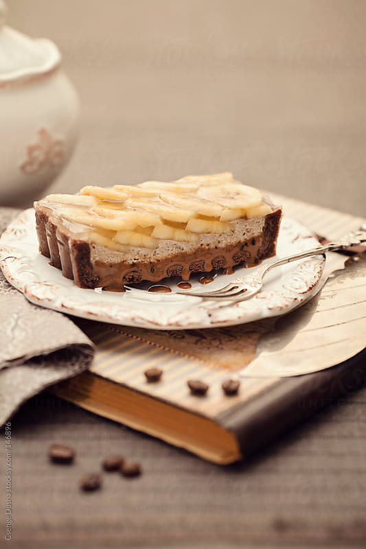 Chocolate Paté Sucrée, coffee-caramel, banana mousse by Csenge Dusha for Stocksy United