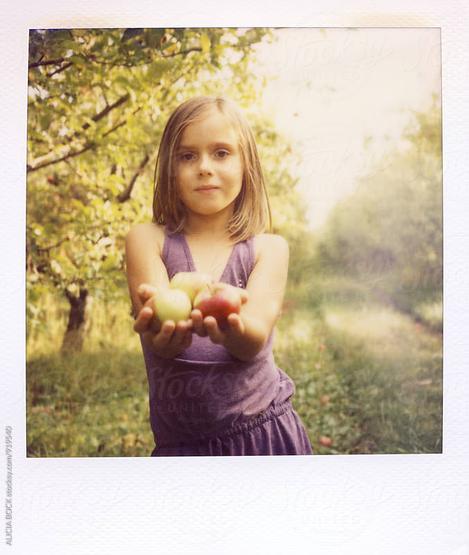 Polaroid Portrait Of A Girl Holding Apples In An Orchard On An Autumn Day by ALICIA BOCK for Stocksy United