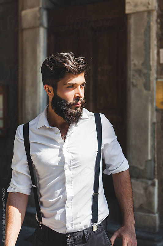 Attractive Young Italian Man with Black Beard by Giorgio Magini for Stocksy United
