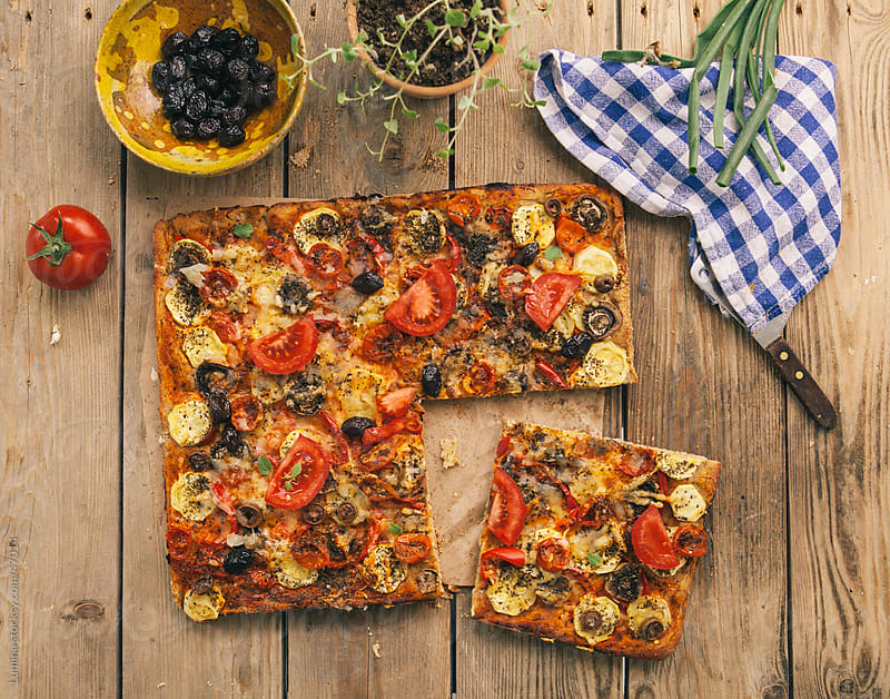 Home-Baked Vegetarian Pizza by Lumina for Stocksy United