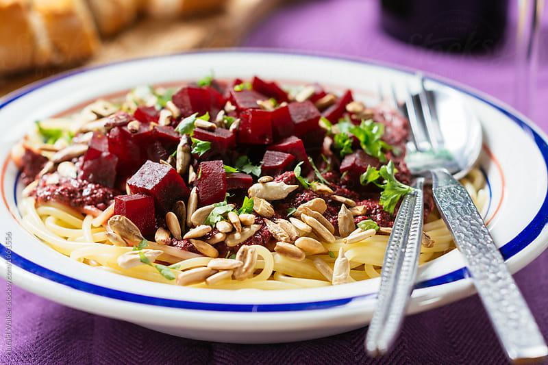 Purple Pesto Pasta with Beets by Harald Walker for Stocksy United