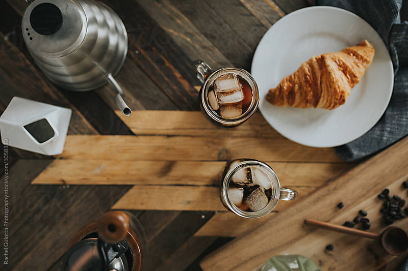 Breakfast Coffee, Flowers, Croissant Scene - Coffee Shop Vibes by Rachel Gulotta Photography for Stocksy United